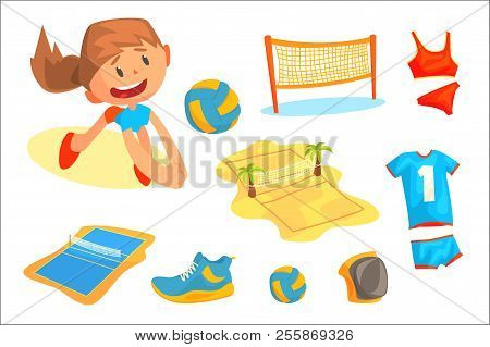 Girl Playing With A Ball At Beach Volleyball Set For Label Design. Sports Equipment For Volleyball.
