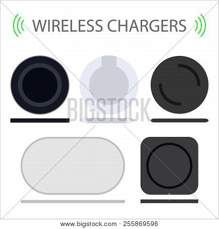 Set Of Wireless Charger Flat Vector Illustration. Different Wireless Charging. Modern Technology For