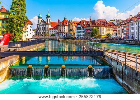 Scenic Summer Aerial Panorama Of The Old Town Medieval Architecture In Lucerne, Switzerland