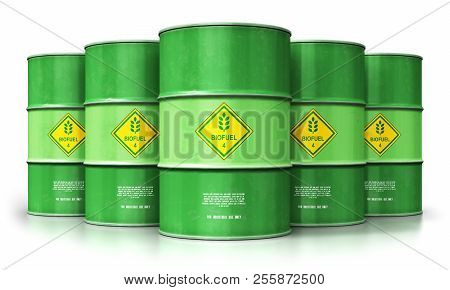 3d Render Illustration Of The Group Of Green Metal Biofuel Drums Or Biodiesel Barrels Isolated On Wh