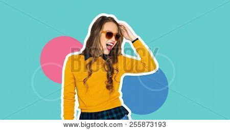 people, style and fashion concept - magazine style collage of happy teenage girl in casual clothes and sunglasses on colorful background
