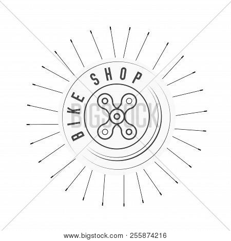 Bicycle Shop, Bikes Emblem. X Sign Made Of Bicycle Chain. Monochrome Vector Illustration. Bicycle Sp