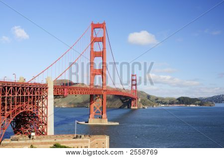 Golden Gate Bridge And The Roof Of Fort Point