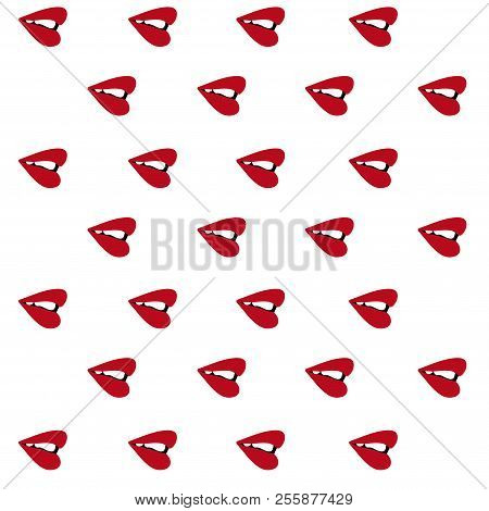 Red Lips Sideways Pattern Seamless.  Illustration. Isolated White Background.