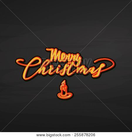 Merry Christmas Lettering On Chalkboard. Nice Calligraphic Artwork For Greeting Cards, Poster Pints