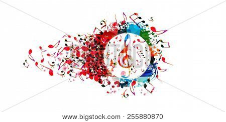 Music Colorful Background With Music Notes And G-clef Vector Illustration Design. Artistic Music Fes