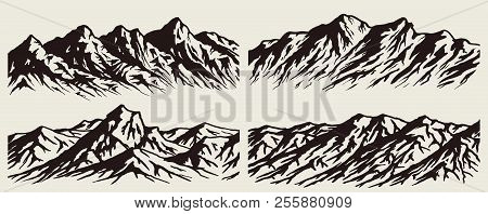 Set Of Isolated Huge Mountains Silhouettes. Vector Mountain Ranges Illustrations.