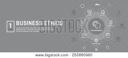 Business Ethics Web Banner Icon Set - Honesty, Integrity, Commitment, and Decision poster