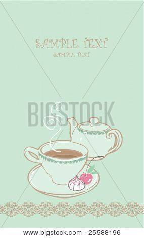card with teapot and cup