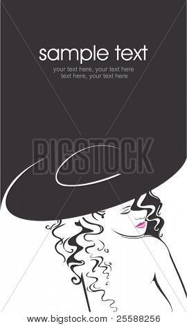 Vector silhouette of beautiful curly woman in a hat