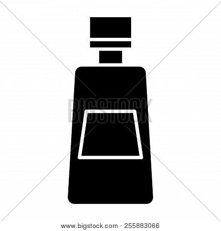 Ketchup Bottle Solid Icon. Tomato Ketchup Vector Illustration Isolated On White. Bottle Of Catsup Gl
