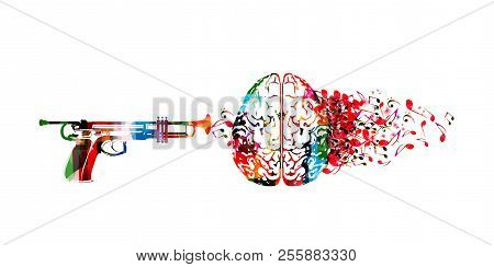 Colorful Human Brain With Music Notes And Trumpet Isolated Vector Illustration Design. Artistic Musi