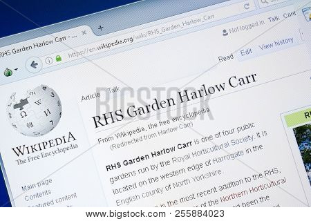 Ryazan, Russia - August 28, 2018: Wikipedia Page About Rhs Garden Harlow Carr On The Display Of Pc