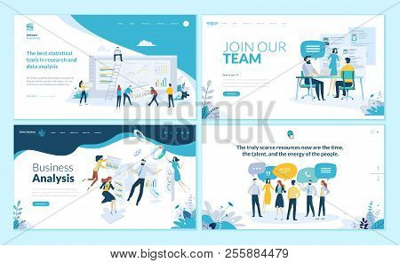 Set Of Web Page Design Templates For Business App, Data Analysis, Career, Communication, Teamwork. M