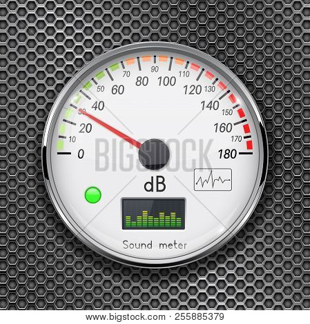 Decibel Gauge. Volume Unit On Low Level. Glass Gauge With Chrome Frame On Metal Perforated Backgroun