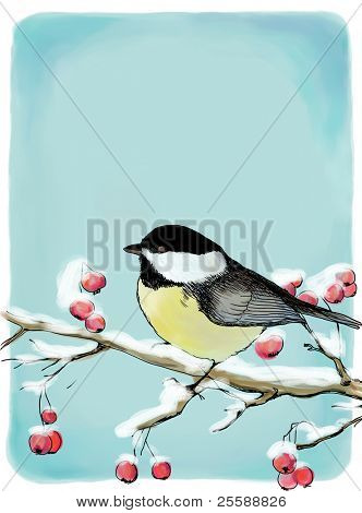 Painted Christmas background with titmouse