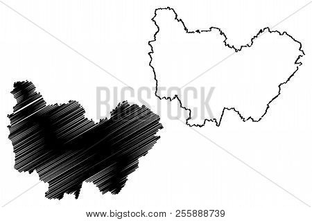 Bourgogne-franche-comte (france, Administrative Region, Bfc) Map Vector Illustration, Scribble Sketc