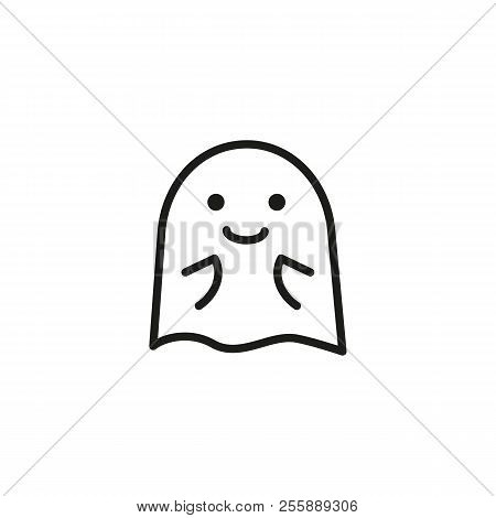 Ghost In Anticipation Line Icon. Gossip, Shock, Amazed. Halloween Concept. Vector Illustration Can B