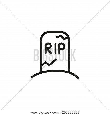 Rip Inscription On Tombstone Line Icon. Monument, Death, Scary. Halloween Concept. Vector Illustrati