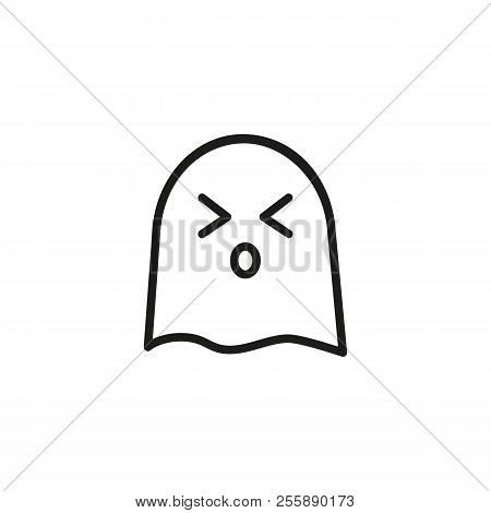 Sneezing Ghost Line Icon. Suffering, Tired, Weary. Halloween Concept. Vector Illustration Can Be Use