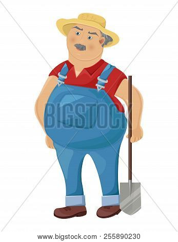 Farmer Cartoon Character Vector. Funny Man With A Spud