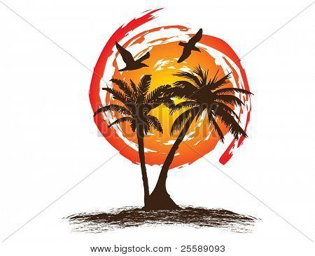 palm trees with sun a birds