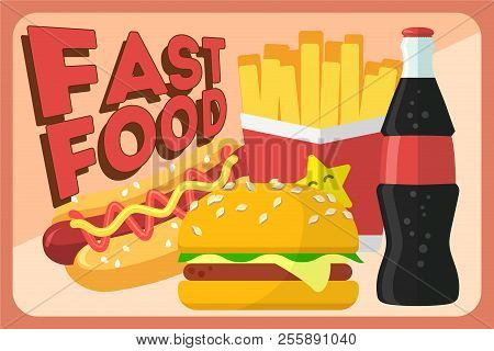 Colorful Fast Food Vector Retro Banner. Fast Food Hamburger Dinner And Restaurant, Tasty Set Fast Fo