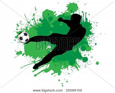 footballer kicking ball