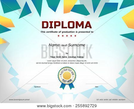 Kids Diploma Or Certificate Template With Awarded Ribbon