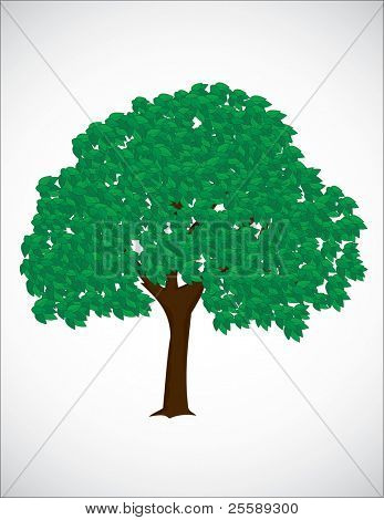 Raster tree isolated on white background
