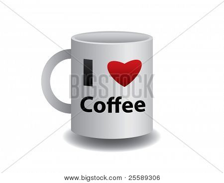 Raster realistic mug of coffee with sign
