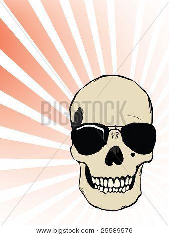 Raster human skull with glasses