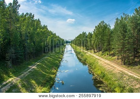 Volga-uvod Canal On A Sunny Summer Day, Ivanovo Region, Russia.