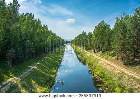 Volga-uvod Canal On A Sunny Summer Day, Ivanovo Region, Russia.