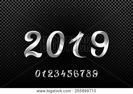 2019 white new year sign with glitter and loading panel on black background vector illustration
