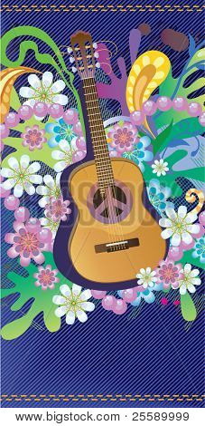 Composition with guitar, flowers and symbol of peace poster