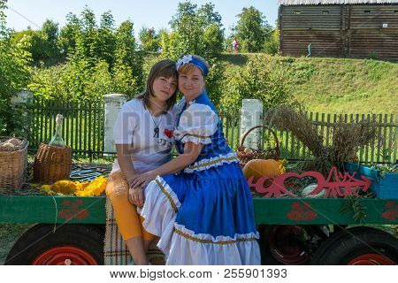 Two Girls Are Photographed For Memory At The Regional Festival-fair Luk-luchok August 25, 2018 In Th