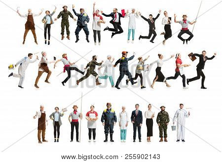 Collage Of Different Professions. Group Of Men, Women In Uniform Running At Studio Isolated On White