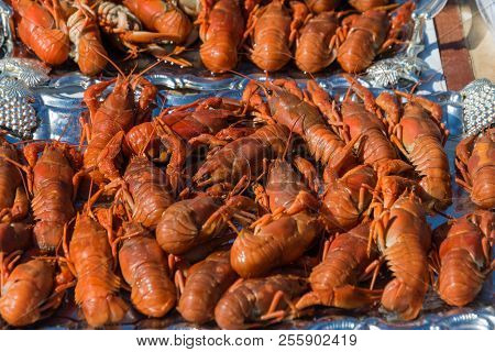 Many Red Boiled Crayfish With Long Mustaches And Large Mites.