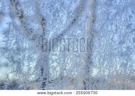 Beautiful Winter Frosty Morning Background - Icing Windowpane Pattern Close Up