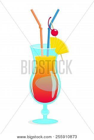 Summer Tropical Beach Cocktail. Vector Cartoon Illustration Of Cocktail Mai Tai.