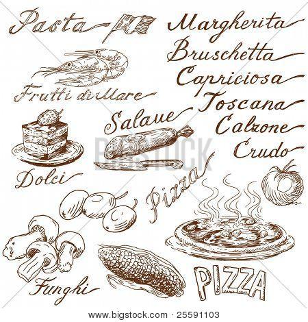 italian food doodles