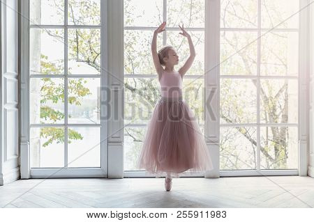 Young Classical Ballet Dancer Girl In Dance Class. Beautiful Graceful Ballerine Practice Ballet Posi
