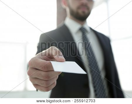 Business man giving business card on bright background