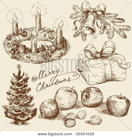 hand drawn christmas collection