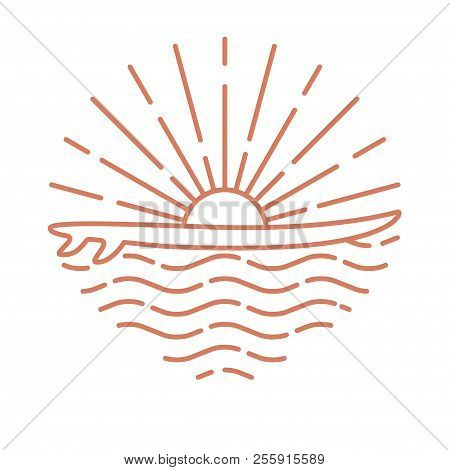 Template Linear Logo With Surf Board And Sea Sunrise On White Background. Flat Line Style Icon. Vect