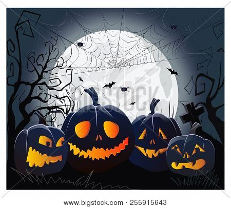 Jack O Lanterns And Cobweb With Spiders Against Moonlight Vector Illustration. Halloween Night Backg