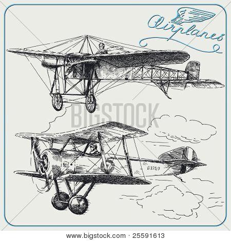 aeroplanos dibujados a mano