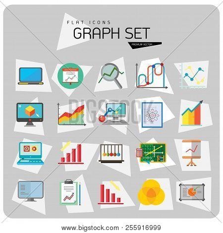 Graph Icon Set. Magnifier And Graph Growing Bar Chart Declining Bar Chart Venn Diagram Clipboard Fli