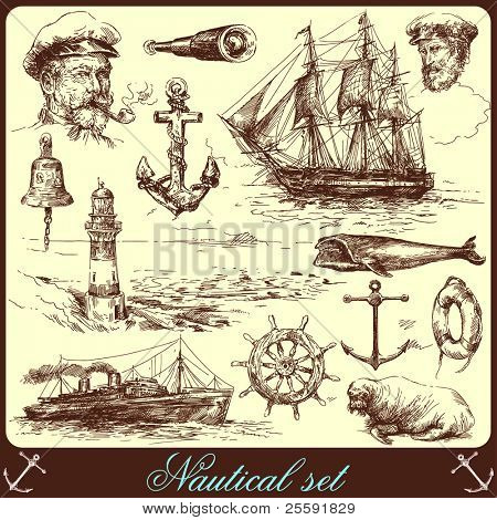 nautical elements-hand drawn collection poster